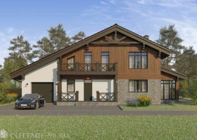 Проект двухэтажного дома с гаражом в стиле шале