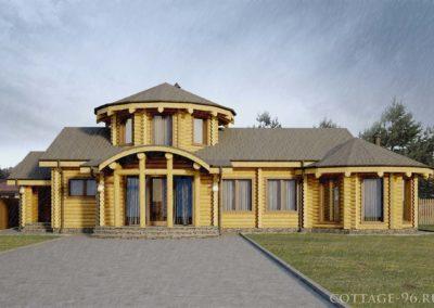 Банный комплекс из цилиндрованного бревна кп «Белые росы»