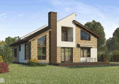 Проект двухэтажного дома из керамических блоков в современном стиле