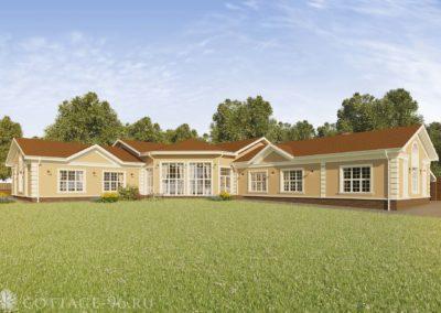 Проект одноэтажного дома с бассейном в классическом стиле