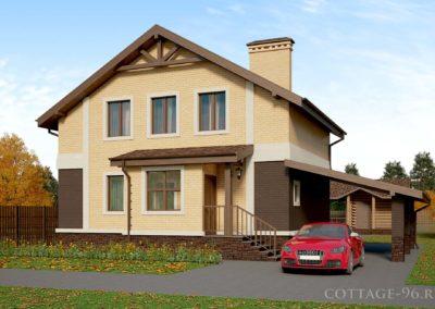 Проект дома на готовый фундамент из газоблока с лицевым кирпичем (построен)