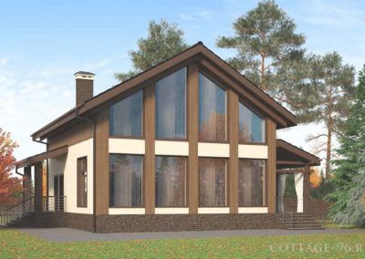 Дом с панорамным остеклением из твинблока в деревне Гусево
