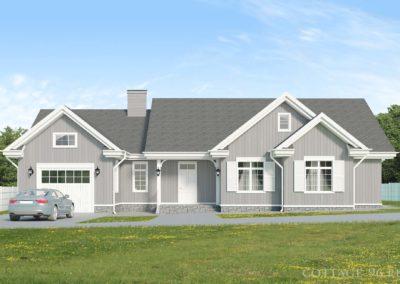 Проект одноэтажного каркасного дома с гаражом в американском стиле