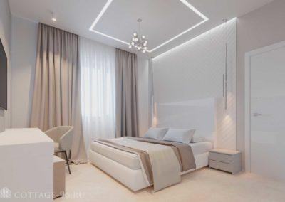 Дизайн-проект спальни в коттедже в светлых тонах в стиле минимализм (пос. Старопышминск)