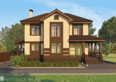 Проект двухэтажного дома из кирпича  с большими панорамными окнами