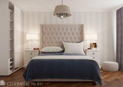Дизайн-проект интерьера спальни в ЖК «Каменный ручей» (легкая классика)