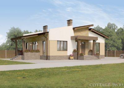Индивидуальный проект одноэтажного дома из газоблоков в современном стиле