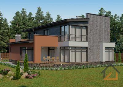 Проект коттеджа в современном стиле с гаражом площадью 270 кв. м.