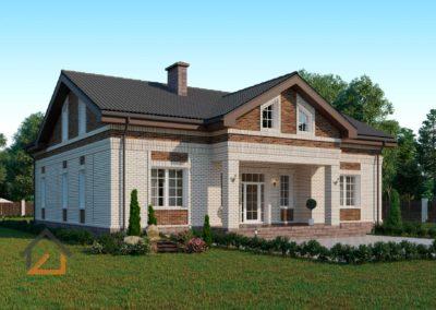 Проект одноэтажного дома в Черданцево из кирпича площадью 200 кв. м.