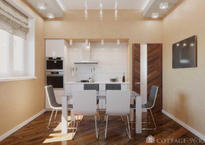 Дизайн-проект кухни в стиле минимализм в коттедже (пос. Старопышминск)