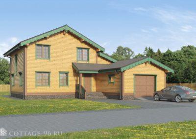 Дизайн-проект экологичного дома из профилированного бруса с гаражом, баней и мансардой