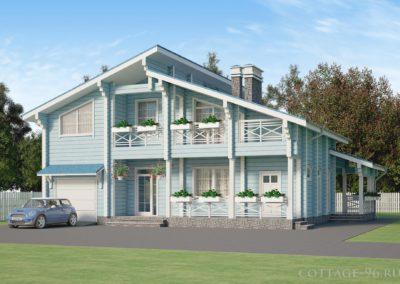 Проект двухэтажного дома из профилированного бруса с гаражом и мансардой