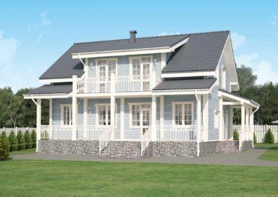 Проект каркасного дома с мансардой в классическом стиле