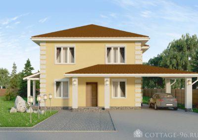 Типовый проект двухэтажного дома из бризолита в классическом стиле