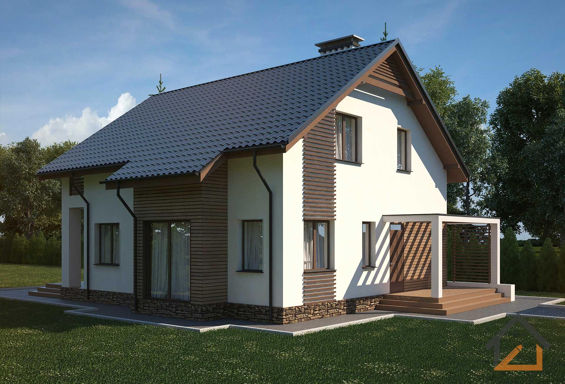 проект небольшого дома с мансардой из газосиликата