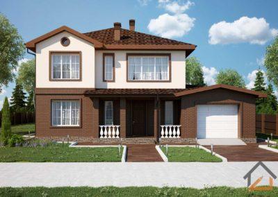 Готовый проект дома с гаражом площадью 266 кв. м. из газоблока с лицевым кирпичом