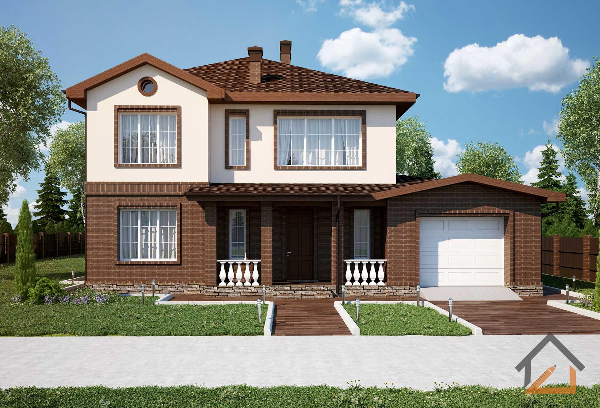 проекты двухэтажного дома с гаражом фото очень
