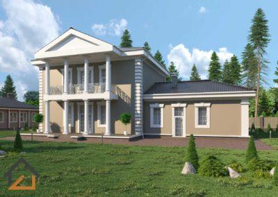 Проект дома в классическом стиле с гаражом и террасой в Березовском площадью 370 кв. м.