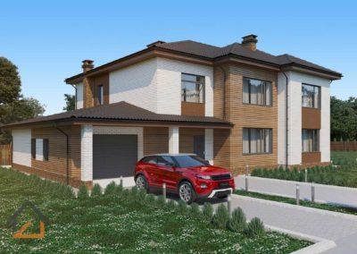 Проект дома из в Березовском с гаражом из газоблоков с лицевым кирпичом площадью 280 кв. м.