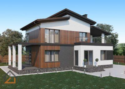 Проект дома в современном стиле из газоблоков площадью 150 кв. м.