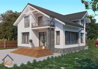Проект дома в современном стиле в пос. Балтым из газоблоков площадью 170 кв. м.
