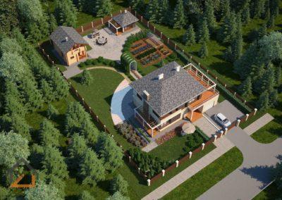 Проект дома, бани, беседки и ландшафтного дизайна КП «Чистые росы»