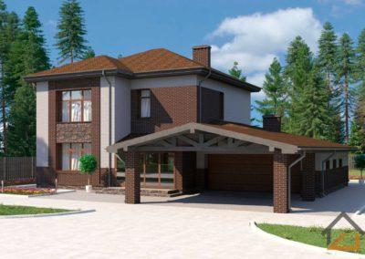 Проект двухэтажного дома из газоблока с облицовочным кирпичом площадью 220 кв. м.