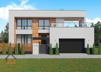 Проект дома в современном стиле из газоблоков площадью 500 кв. м. с гаражом и террасой м-р Мичуринский, Екатеринбург