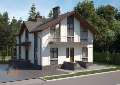 Проект коттеджа из газоблоков с панорамными окнами в современном стиле площадью 250 кв. м. мкр. Калиновкий