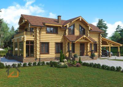 Проект дома из рубленного бревна с пристроенной баней и навесом п. Балтым