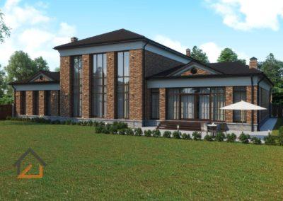 Проект дома в КП «Палникс» из теплой керамики  и лицевого кирпича с гаражлм на 2 а/м и бассейном