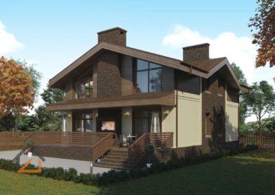 Проект дома в Пышме площадью 250 кв. м. из кирпича современное шале